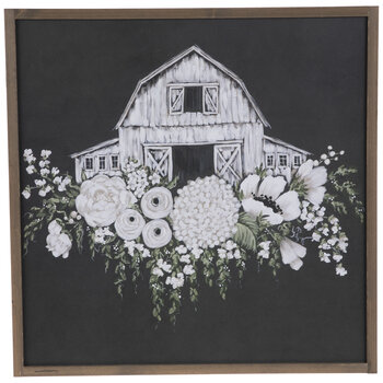 White Floral Barn Wood Wall Decor