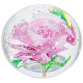 Pink Rose Glass Paperweight