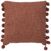 Woven Pillow With Pom Pom Fringe