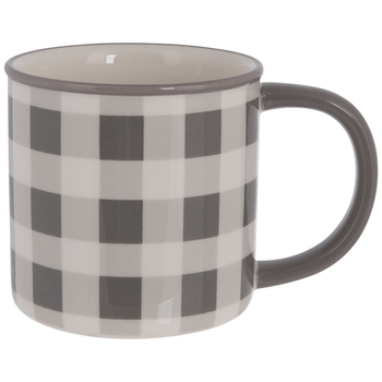 Gray & White Buffalo Check Mug