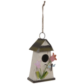 Cream Metal Birdhouse With Tulips