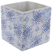 White & Blue Square Tiled Pot