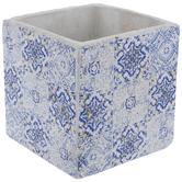 White & Blue Square Tiled Pot