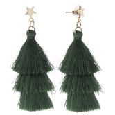 Green Tassel Tree Earrings
