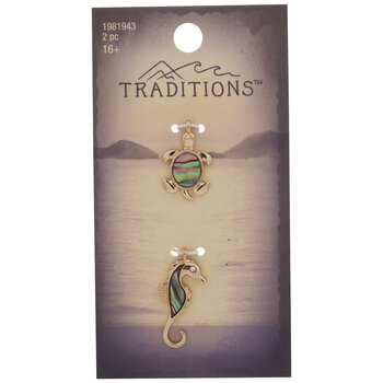 Turtle & Seahorse Abalone Charms