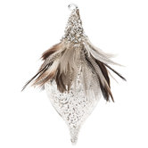 Mercury Glass Onion Ornament With Feathers