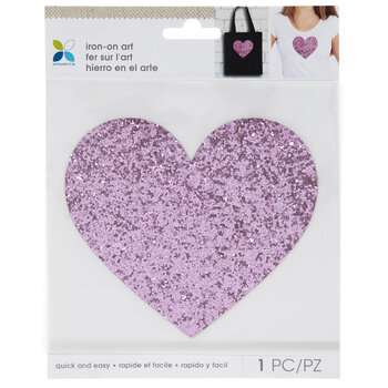 Pink Glitter Heart Iron-On Applique