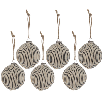 Ticking Striped Ball Ornaments