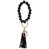 Wood Bead Bracelet With Tassel & Key Ring