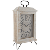 Distressed White Wood Clock