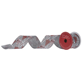 """Gray, Red & White Christmas Trees Wired Edge Ribbon - 2 1/2"""""""