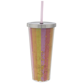 Multi-Color Striped Confetti Cup With Straw