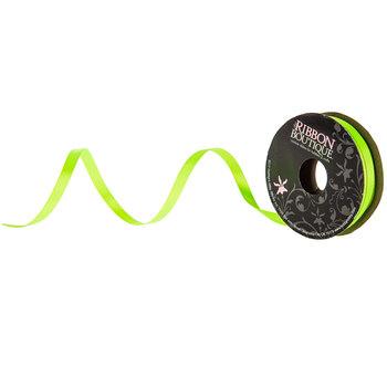 "Neon Green Double-Face Satin Ribbon - 1/4"""