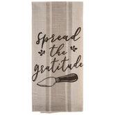 Spread The Gratitude Striped Kitchen Towel