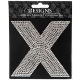 Rhinestone Letter Iron-On Applique - X