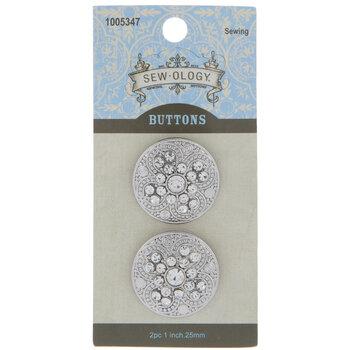 Rhinestone Round Textured Shank Buttons - 25mm