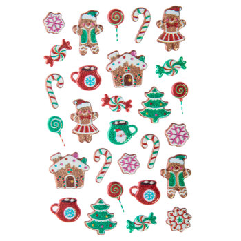 Gingerbread House Puffy Stickers