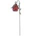 Pink Metal Birdhouse Pick