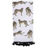 Tasseled Cheetah Print Kitchen Towel