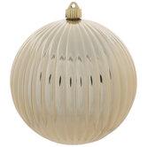 Metallic Gold Ridged Ball Ornament