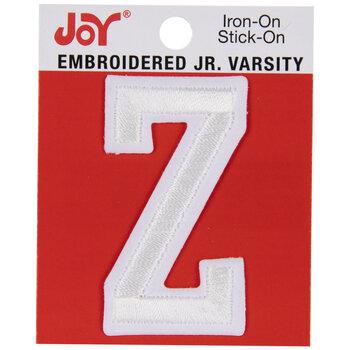 """White Junior Varsity Letter Iron-On Applique Z - 2"""""""