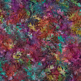 Jewel Tone Leaf Cotton Calico Fabric