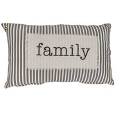 Family Ticking Striped Pillow