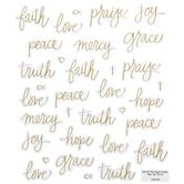 Gold Foil Faith Script Stickers