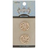 Gold Waves Metal Shank Buttons - 20mm