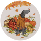 Dog In Yellow Sweater Autumn Plate