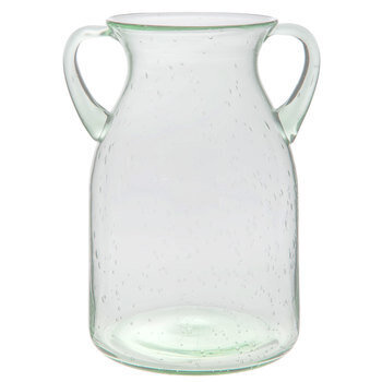 Green Tint Glass Vase With Handles