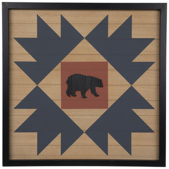 Geometric Framed Bear Wood Wall Decor