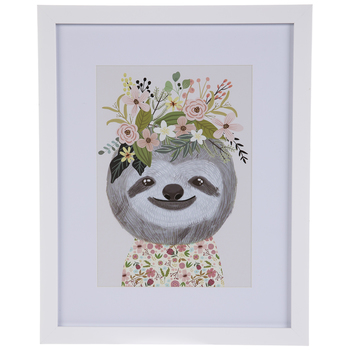 Floral Sloth Framed Wall Decor
