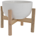 White Flower Pot & Wood Frame - Large