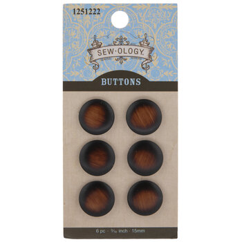 Brown Brushed Round Shank Buttons - 15mm