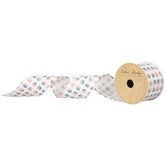 "Pink & Teal Polka Dot Wired Edge Ribbon - 2 1/2"""