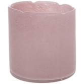 Chipped Pink Glass Candle Holder