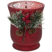Red Mercury Glass Hurricane Candle Holder