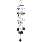 Blue Starfish & Bell Glass Wind Chime
