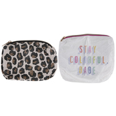 Stay Colorful Babe & Leopard Print Pouches