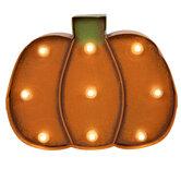Light Up Pumpkin Metal Wall Decor