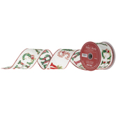 """Merry Christmas Wired Edge Woven Ribbon - 2 1/2"""""""