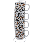 Leopard Print Stacked Mugs
