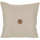 Fog Gray Button Pillow Cover