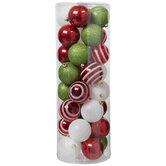 Red, Green & White Glitter Ball Ornaments