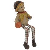 Scarecrow Shelf Sitter With Pumpkin & Acorn