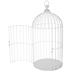 Distressed White Metal Bird Cage