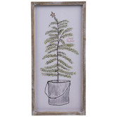 Christmas Tree In Pail Wood Wall Decor