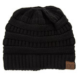 Black C.C. Knit Messy Bun Beanie
