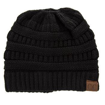 Black C.C. Knit Messy Bun Beanie
